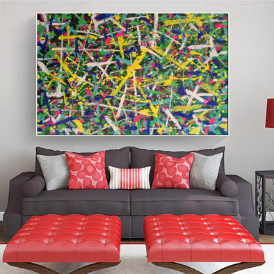 Living room paintings for sale | Jackson pollcok style painting | Colorful painting L769-1