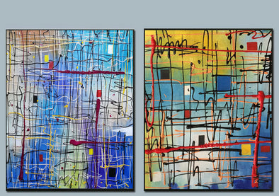 blue acrylic abstract paintings