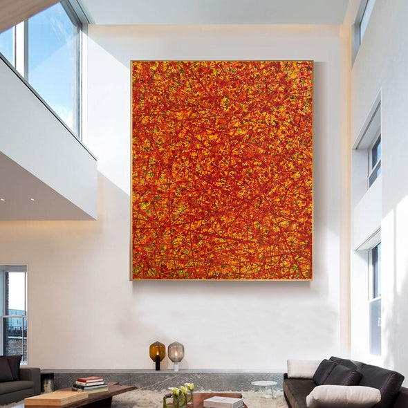 Red abstract painting | Vertical oil painting | Yellow and red abstract art L737-8