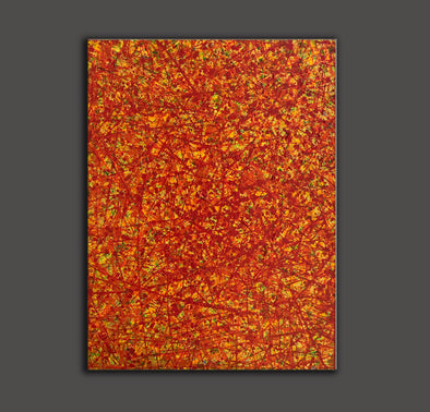 Red abstract painting | Vertical oil painting | Yellow and red abstract art L737-1