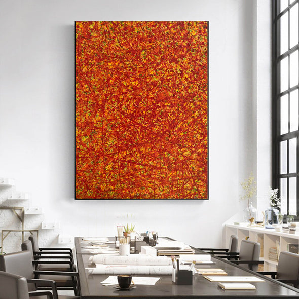 Red abstract painting | Vertical oil painting | Yellow and red abstract art L737-4
