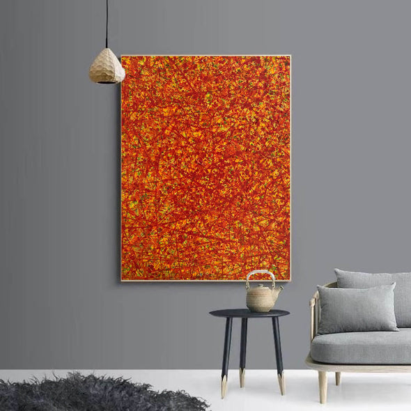 Red abstract painting | Vertical oil painting | Yellow and red abstract art L737-5