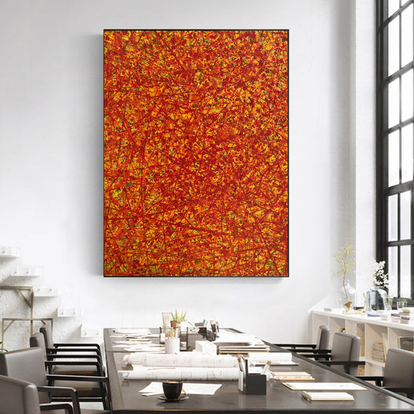 Red abstract painting | Vertical oil painting | Yellow and red abstract art L737-6