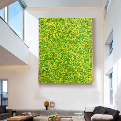 Yellow green abstract painting | Yellow and green abstract | Large Yellow painting L736-1