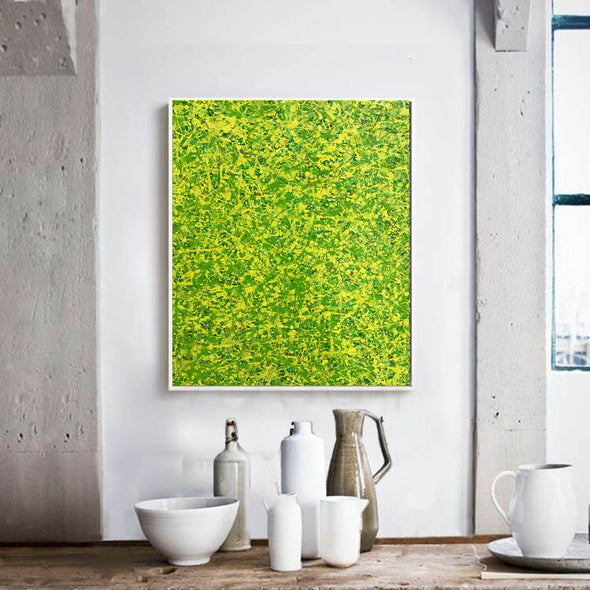 Yellow green abstract painting | Yellow and green abstract | Large Yellow painting L736-8
