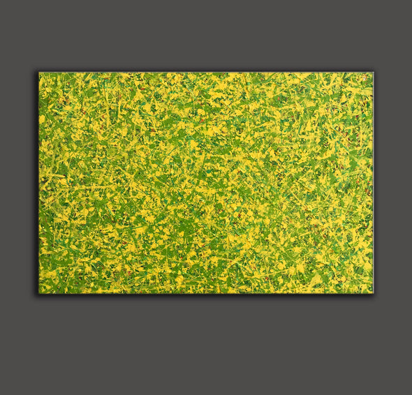 abstract original | yellow and green abstract painting | green abstract art L745-7
