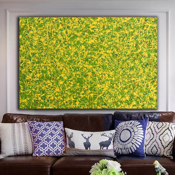 abstract original | yellow and green abstract painting | green abstract art L745-5