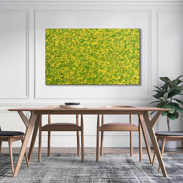 abstract original | yellow and green abstract painting | green abstract art L745-4
