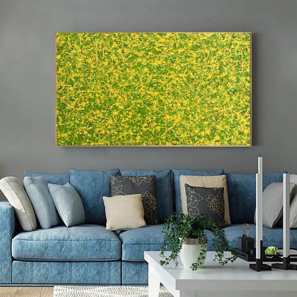 abstract original | yellow and green abstract painting | green abstract art L745-3