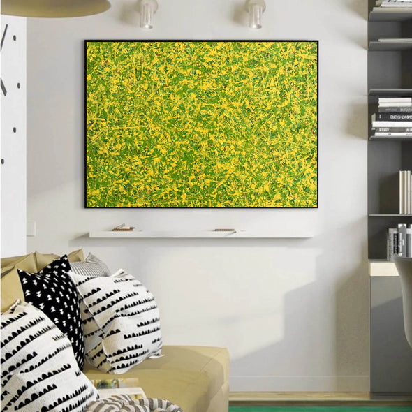 abstract original | yellow and green abstract painting | green abstract art L745-2