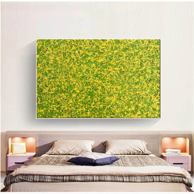 abstract original | yellow and green abstract painting | green abstract art L745-1