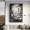 Large black and white art | Black and white abstract art on canvas L596-8