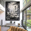 Large black and white art | Black and white abstract art on canvas L596-10