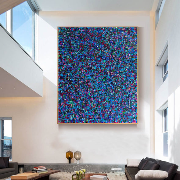 LargeArtCanvas-blue red abstract painting L733-1