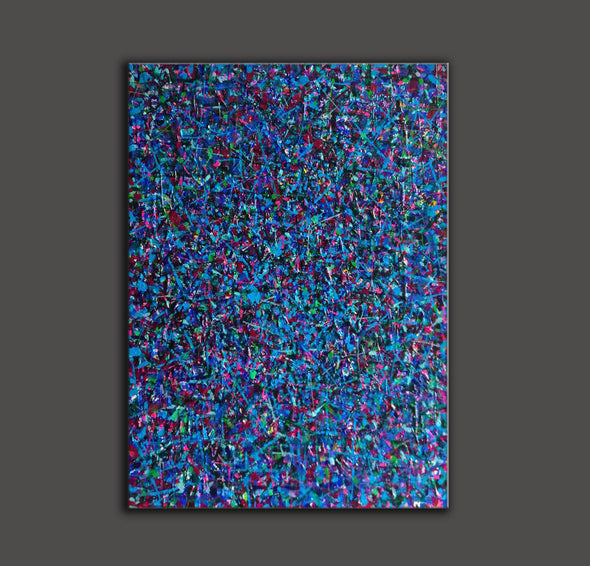 LargeArtCanvas-blue red abstract painting L733-3