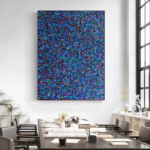 LargeArtCanvas-blue red abstract painting L733-5