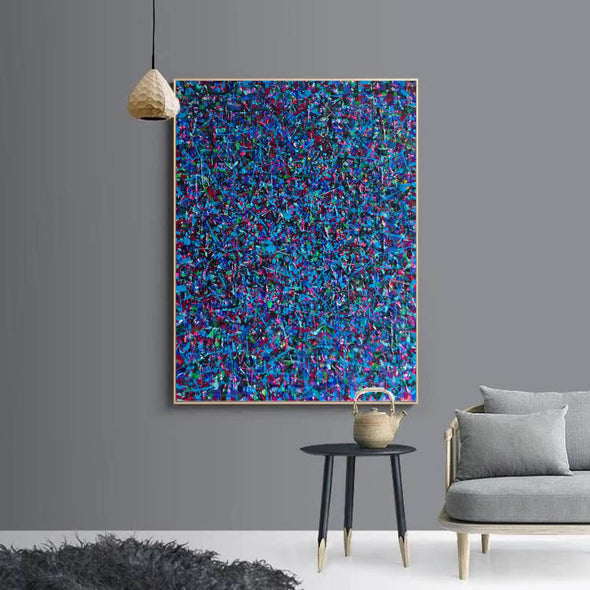 LargeArtCanvas-blue red abstract painting L733-6