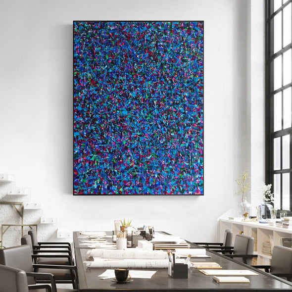 LargeArtCanvas-blue red abstract painting L733-7