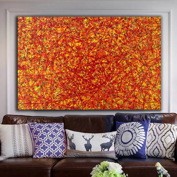 red abstract art | large original art | oversized oil paintings for sale L744-5