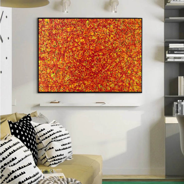red abstract art | large original art | oversized oil paintings for sale L744-2