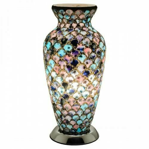 Mosaic Lamp Crackle Glass Vase Lamp Blue Pink Tile Mood Lamp - VEHome