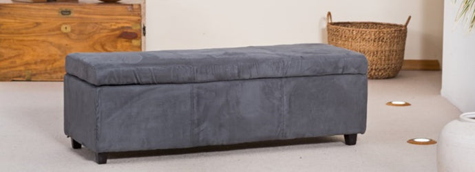 Large Lidded Fabric Ottoman Storage In Charcoal - VEHome