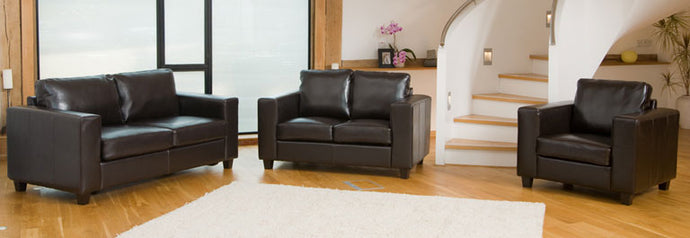 Faux Leather Sofa Suite in 1,2 or 3 Seater Or Sofa bed Options in Black, Brown, Red Or Ivory