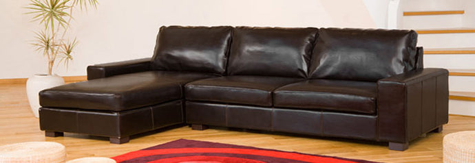 Faux Leather L Shaped Reversible Corner Sofa With Storage Ottoman Available in Black, Brown, Ivory or Red - VEHome
