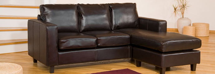 L Shaped Reversible Corner Sofa With Storage Ottoman Available in Black, Brown, Ivory or Red