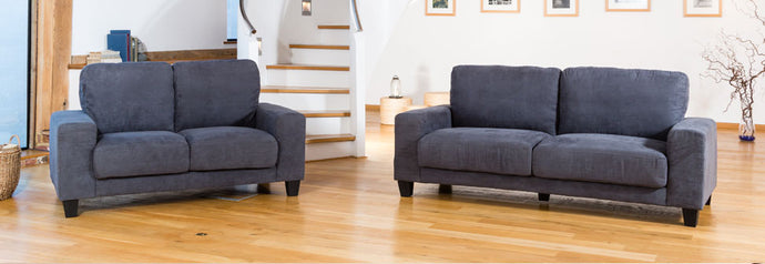 Faux Suede Charcoal Sofa Set Available in 3 and 2 Seater options - VEHome