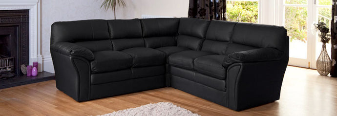 Faux Leather Corner Sofa Available in Black Brown Or Cream