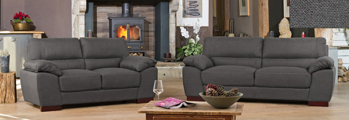 Beautiful Fabric Woven Sofa in 3 and 2 Seater Available in ash, dark brown, grey, light blue, sand, smoke - VEHome