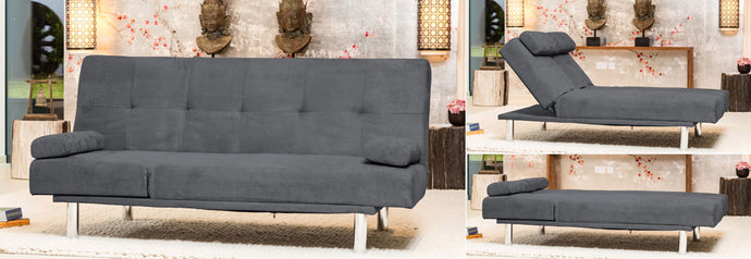 Large 3 Seater Fabric Sofa Bed Available in Cappuccino Or Charcoal - VEHome