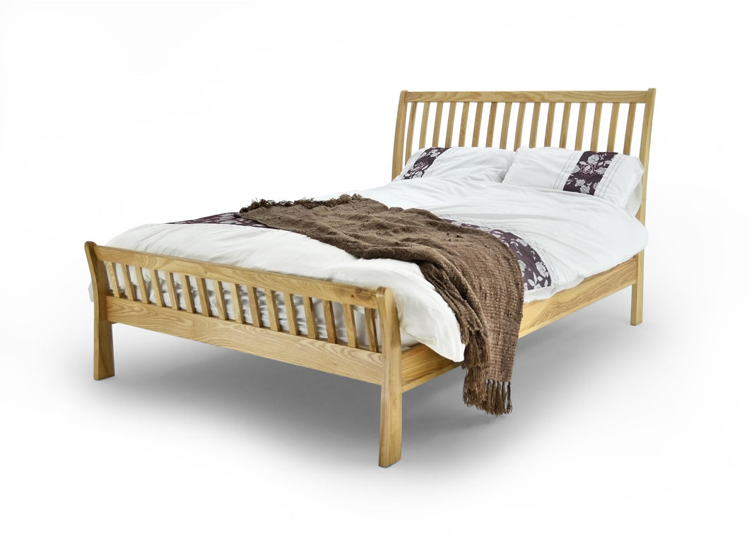 ASHTON BED SOLID OAK Bed Frame Available in Double or King Size - VEHome