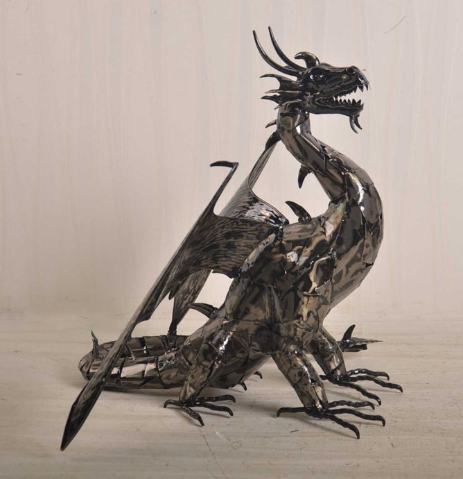 Hand Made Metal Dragon Sculpture Ornate Ornament Beautifully Made - VEHome