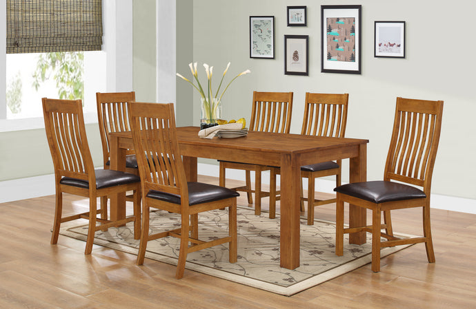Adderley Dining Table Set with 6 Matching Chairs Walnut - VEHome