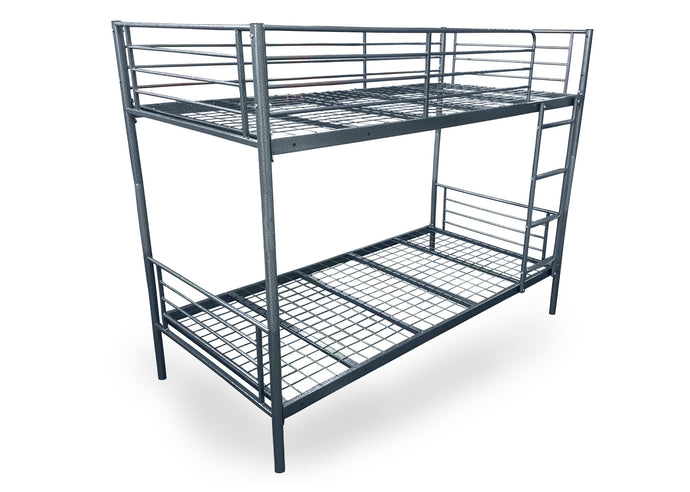 BERTIE 3'0 Single Sturdy Metal BUNK Beds HAMMERED SILVER With Steps (Can Be Split) - VEHome