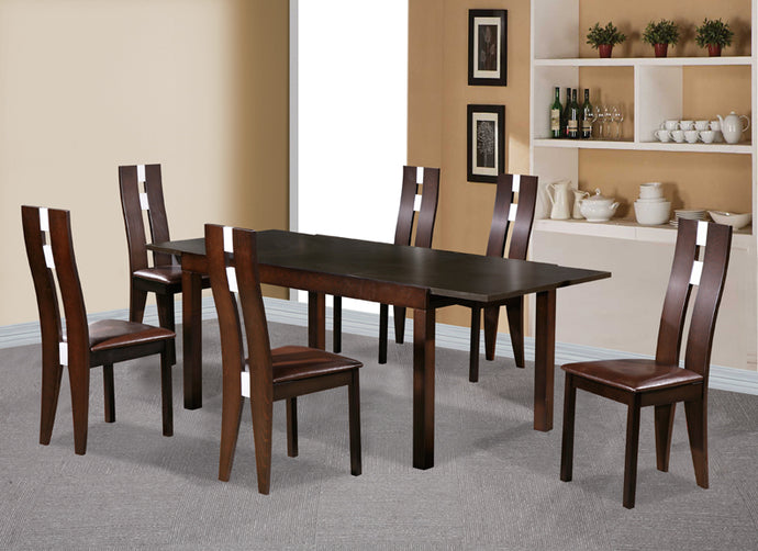 Baltic Dining Table Set with 6 Solid Beech Wood  Chairs Dark Walnut - VEHome