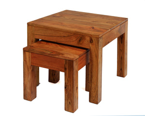 Carnival Light Nest of Tables Solid Acacia Wood Set of 2 Tables - VEHome