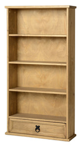 Corona DVD Unit with 1 Drawer & 4 Shelves Distressed Solid Light Pine Wood