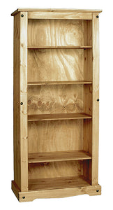 Corona Bookcase Large with 4 Shelves Solid Pine Wood - VEHome