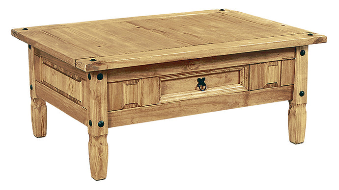 Corona Coffee Table Solid Light Pine Wood With Drawer