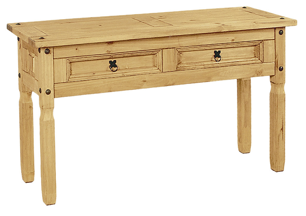 Corona Console Table 2 Drawer Light Solid Pine Wood - VEHome