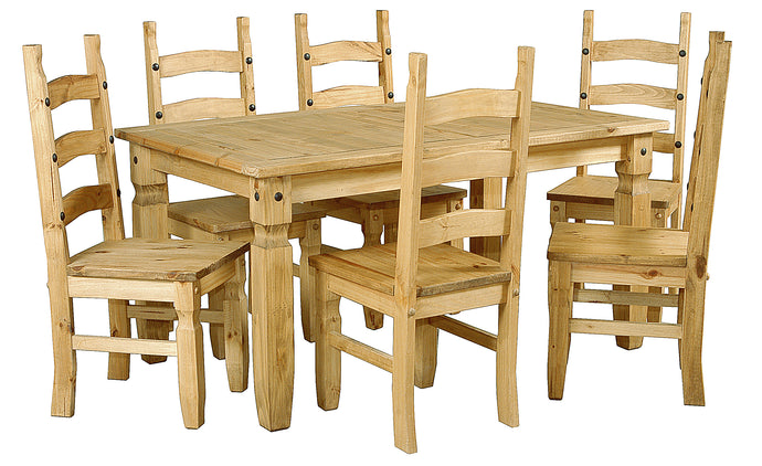Corona Dining Table Set With 6 Matching Chairs Solid Light Pine Wood - VEHome