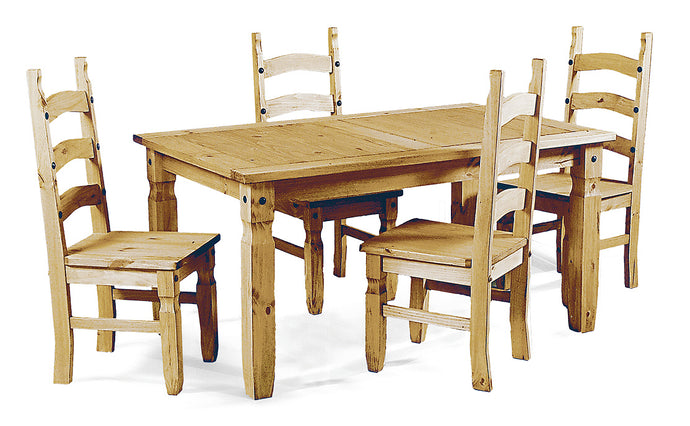 Corona Dining Table Set with 4 Matching Chairs Solid Pine Wood - VEHome