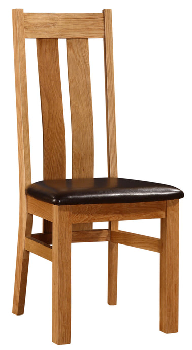 Cumbria Dining Chair Solid Oak Natural Wood (Set of 2) - VEHome