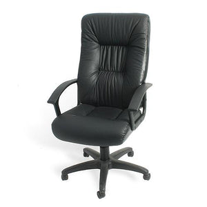 Iago High Back Directors Office Chair Black Leather - VEHome