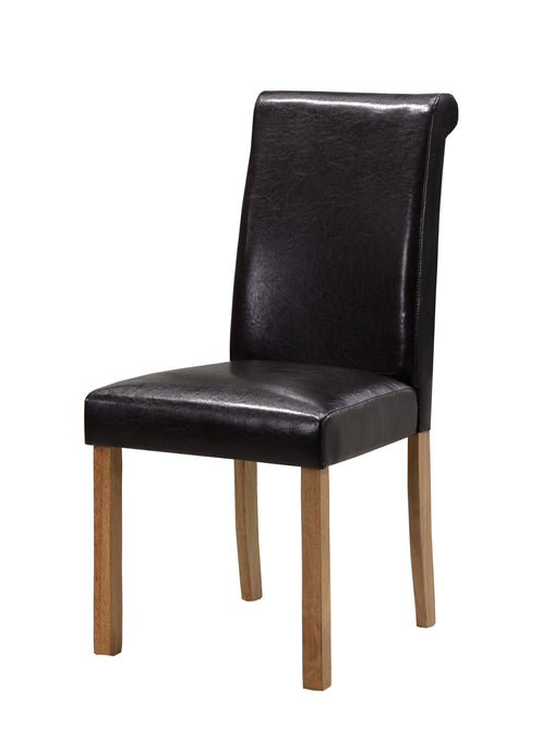 Jasper PU Solid Rubberwood Dining Chair In Black Or Brown (Set of 2) - VEHome