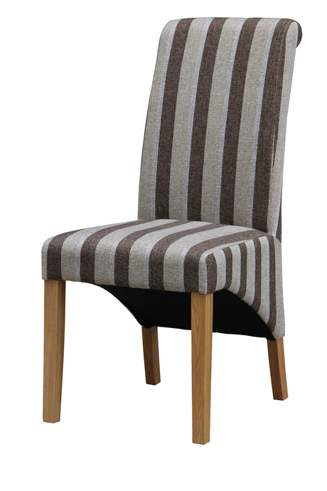 Kingsland Fabric Dining Chair Solid Rubberwood Brown & Grey Stripe (Set of 2)