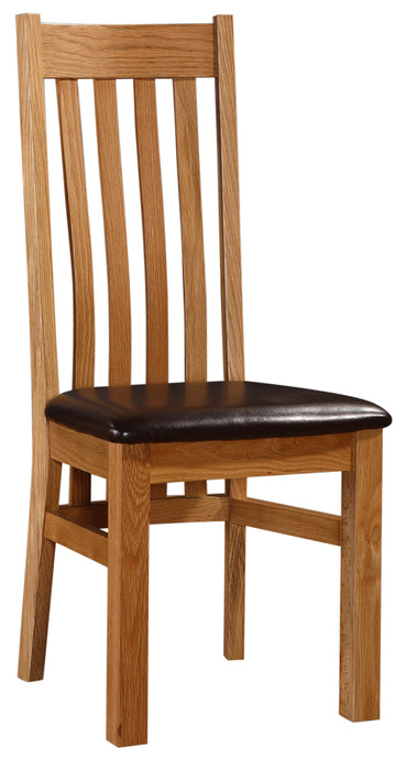 Louisa Dining Chair Solid Oak Natural Wood (Set of 2)